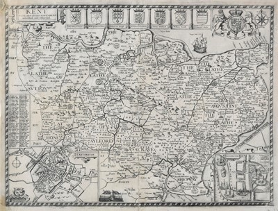 Lot 6 - British county maps. A mixed collection of approximately forty maps, 17th - 19th century