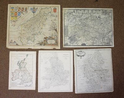 Lot 6-British county maps. A mixed collection of approximately forty maps, 17th - 19th century