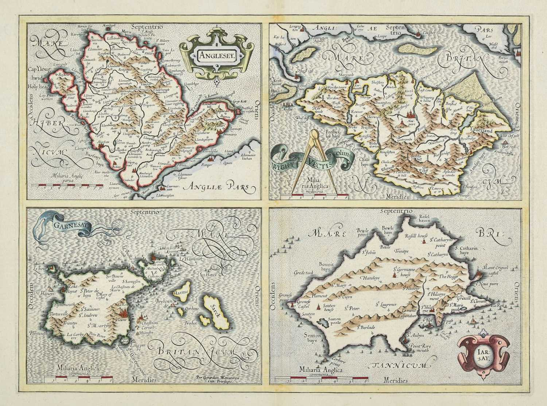 Lot 7 - British Islands. Mercator (Gerard & Hondius J.). Anglesey, Garnesay, Wight...,  & Jarsay, 1636