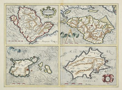 Lot 7-British Islands. Mercator (Gerard & Hondius J.). Anglesey, Garnesay, Wight...,  & Jarsay, 1636