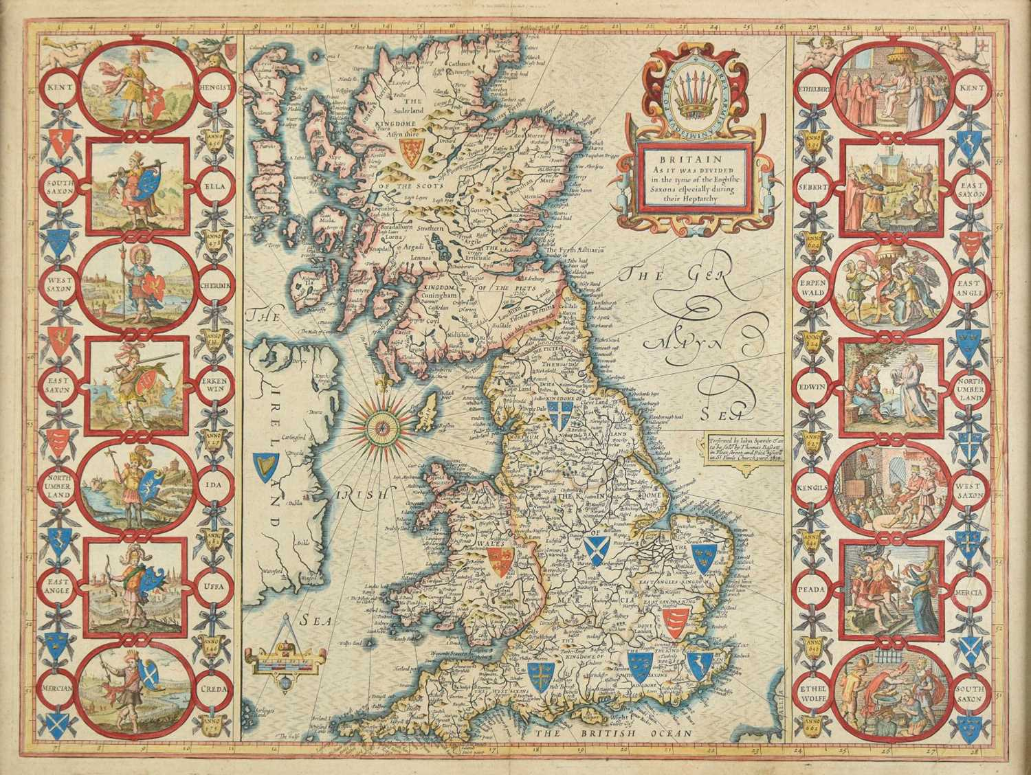 Lot 12 - British Isles. Speed (John),  Britain as it was devided ..., during their Heptarchy, 1676