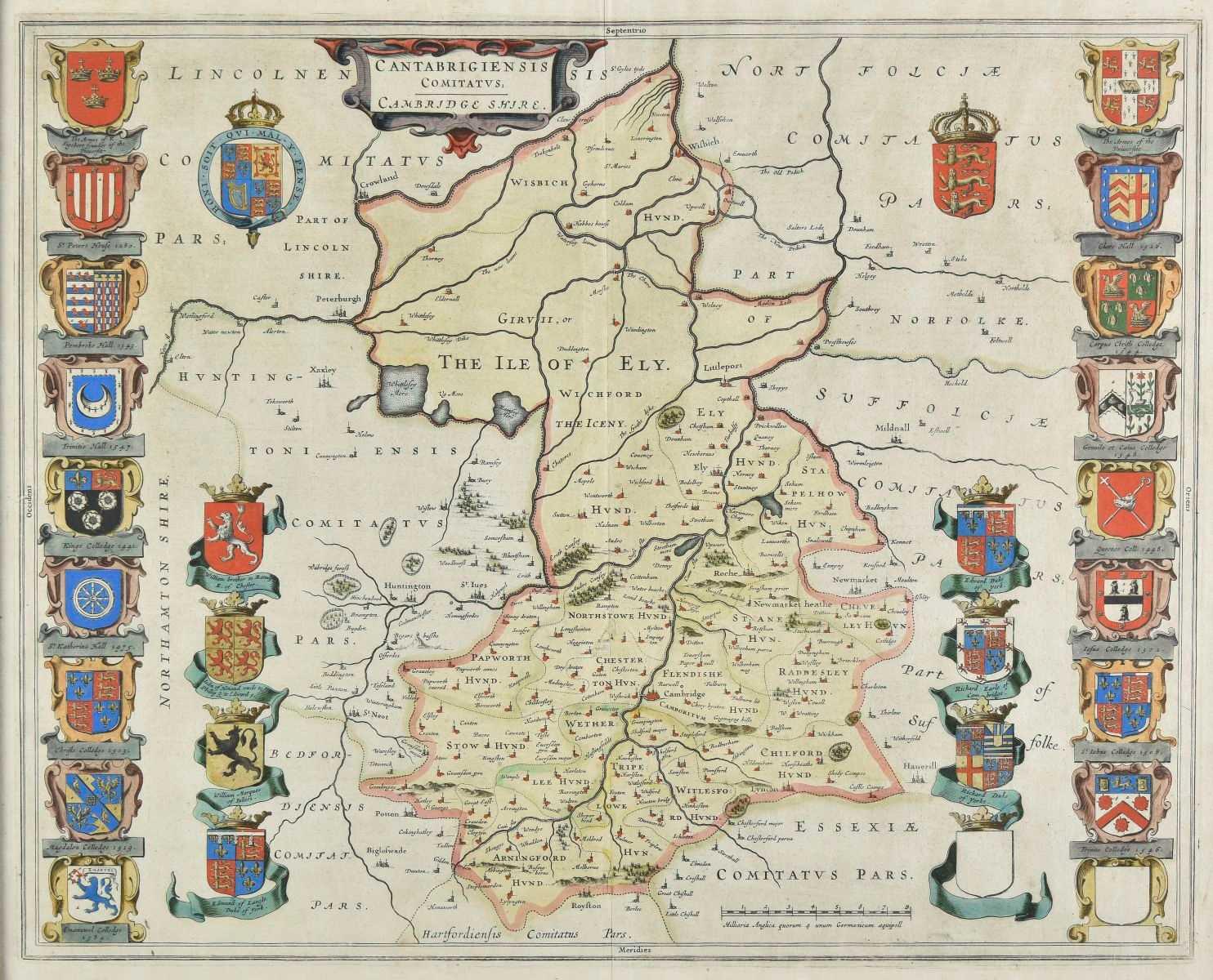 Lot 17-Cambridgeshire. Blaeu (J.), Cantabrigiensis comitatus, Cambridge Shire, circa 1645