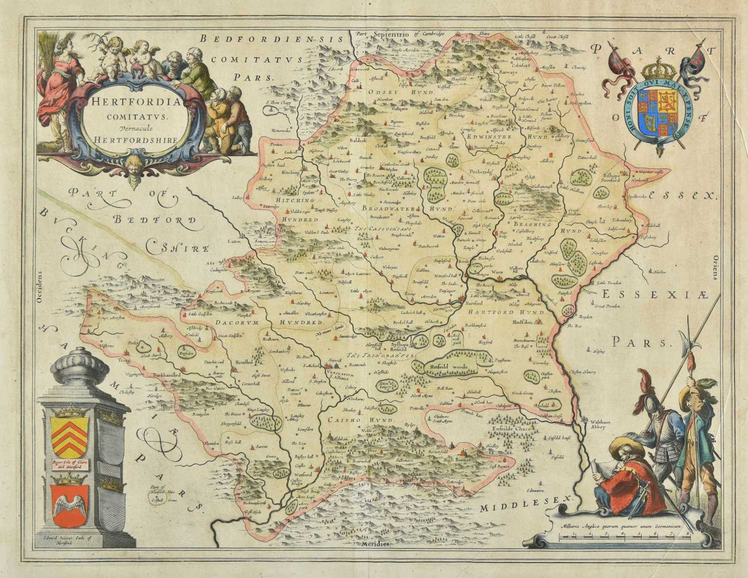 Lot 48-Hertfordshire. Four engraved maps, 17th - 19th century