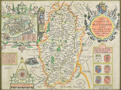 Lot 70 - Nottinghamshire. Four engraved maps, 17th - 19th century
