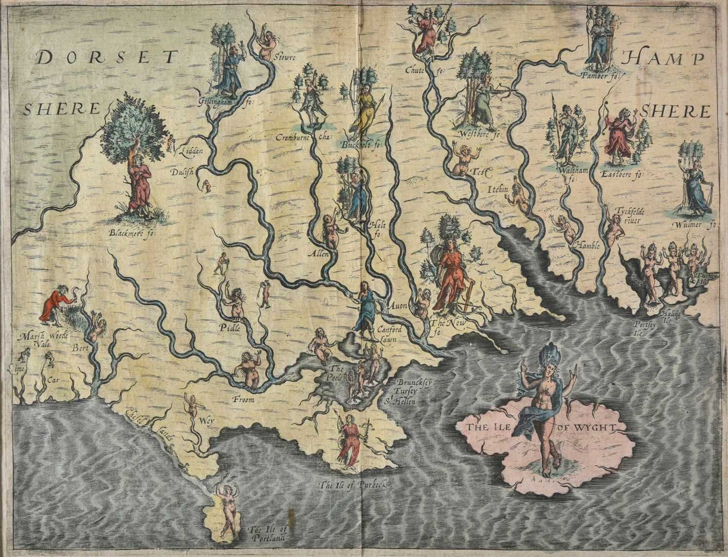Lot 28-Drayton (Michael). Allegorical map of Hampshire & Dorset, 1612 or later