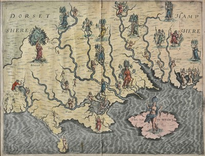 Lot 28 - Drayton (Michael). Allegorical map of Hampshire & Dorset, 1612 or later