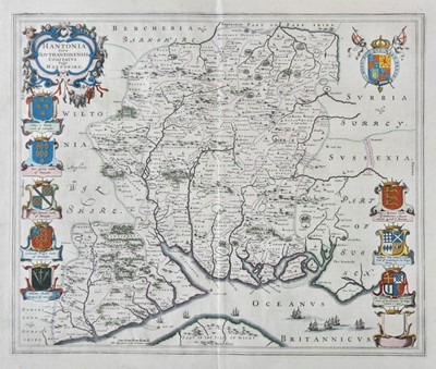 Lot 45 - Hampshire. Blaeu (Johannes), Hantonia sive Southantonensis comitatus vulgo Hantshire, circa 1645