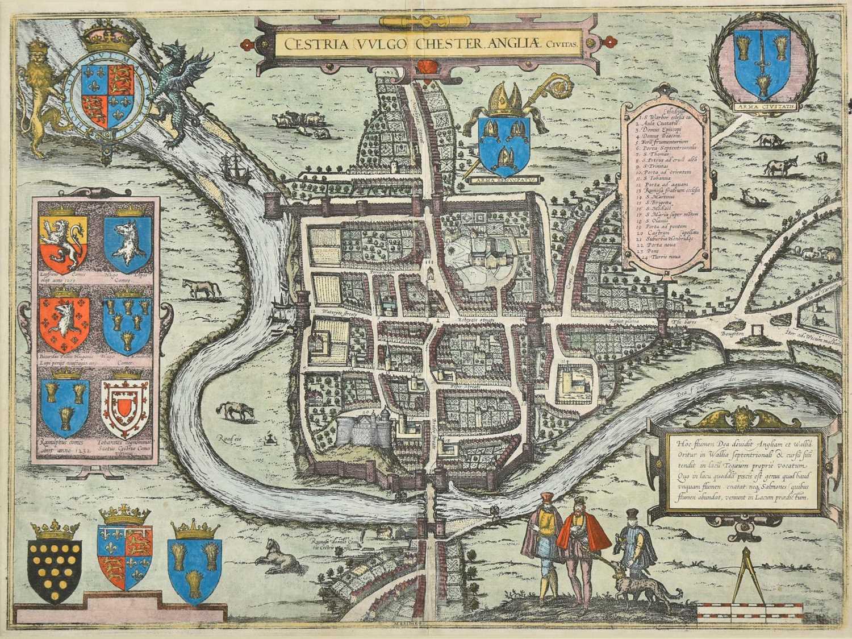Lot 22-Chester. Braun (Georg & Hogenberg Frans), Cestria (vulgo) Chester Angliae Civitas, 1581