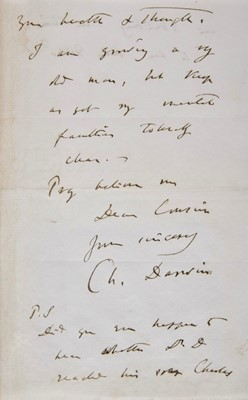 Lot 199-Darwin (Charles, 1809-1882). Autograph letter signed, 1879
