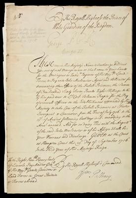 Lot 584 - George II (King of Great Britain and Ireland, 1683-1760). Manuscript Warrant, 1716