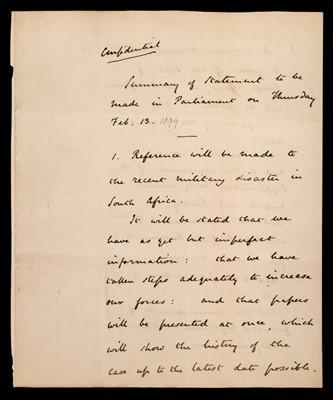 Lot 45 - Northcote (Stafford). Autograph draft parliamentary statement on Isandlwana, 1879