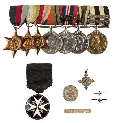 Lot 35-WWII. A group of eight medals - Royal Naval Auxiliary Sick Berth Reserve and St Johns Ambulance