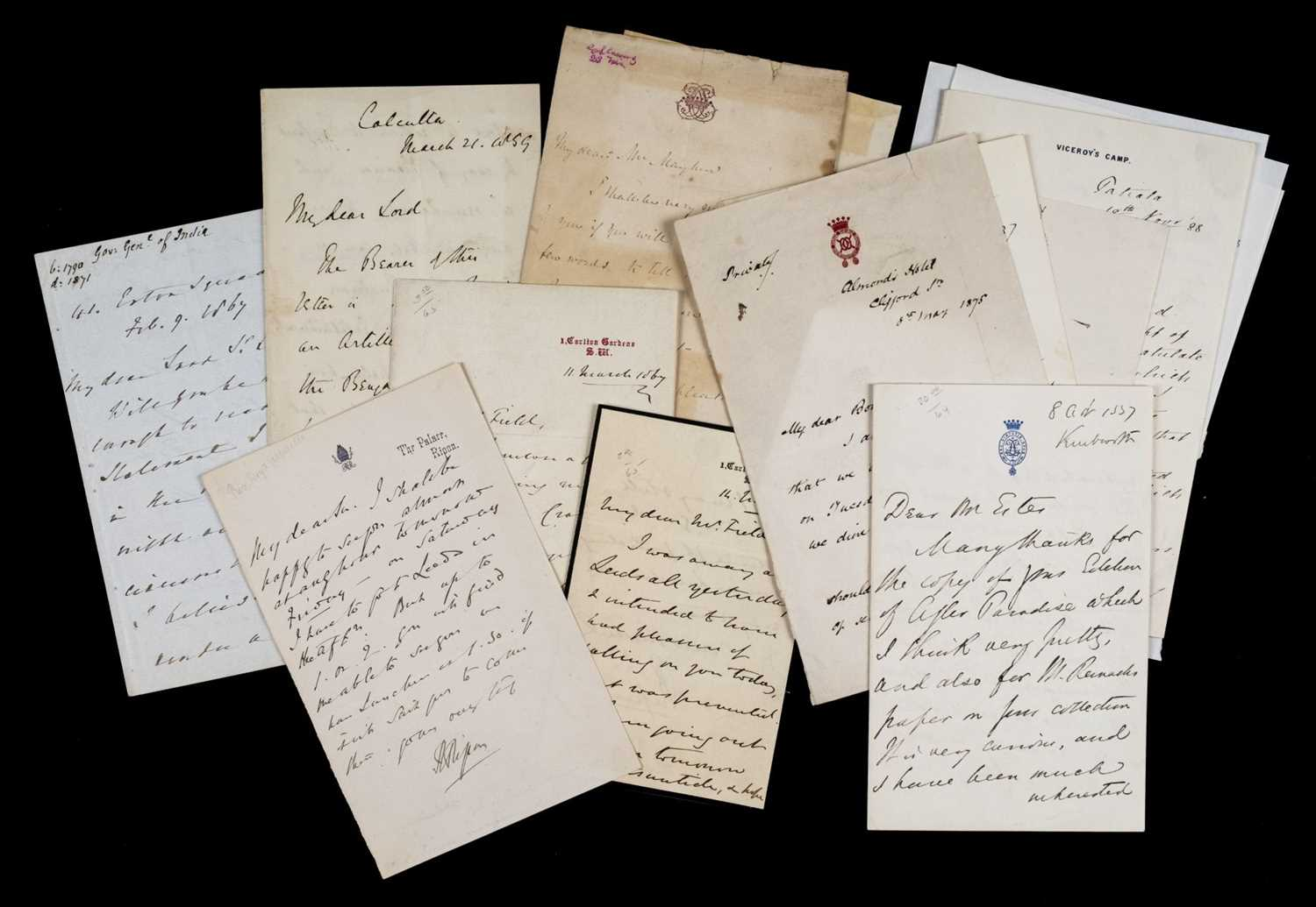 Lot 156 - India; Governors-General. Group of 12 autograph letters signed, 19th century
