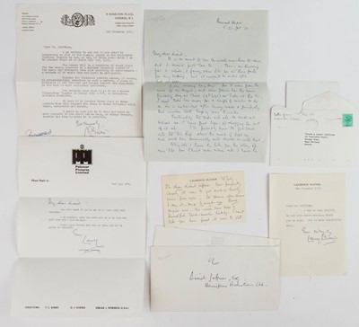 Lot 640 - Olivier (Laurence, 1907-1989). A group of 7 Letters Signed, 1961-84