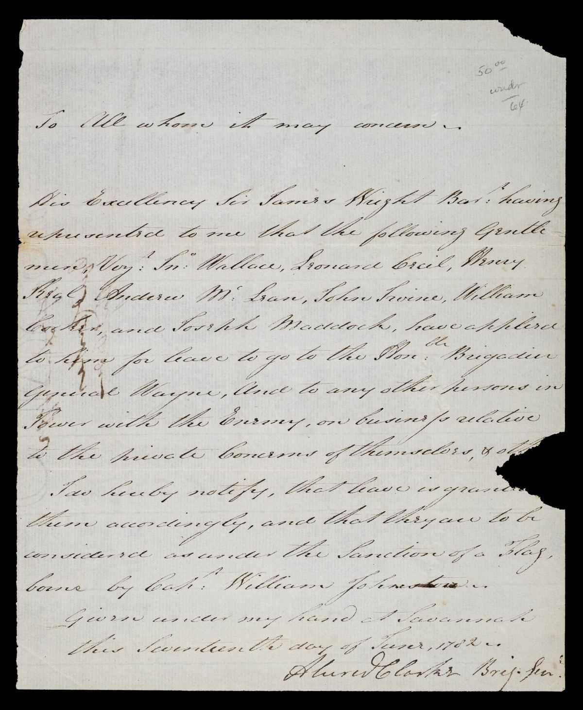 Lot 145-Clarke (Sir Alured, 1744-1832). Manuscript document signed, Savannah, Georgia, 1782