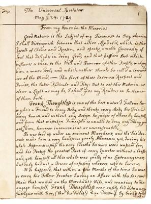 Lot 688 - Manuscript Commonplace Book, circa 1730-40
