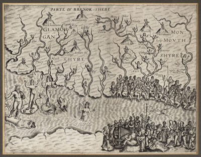 Lot 30-Drayton (Michael). Untitled allegorical map of South Wales and North Somerset, circa 1622