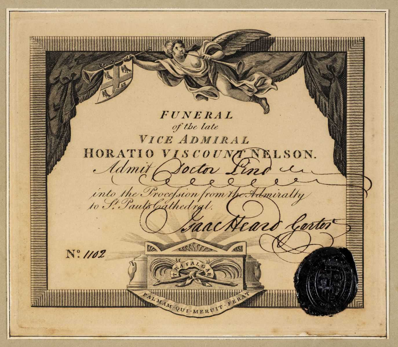 Lot 728 - Nelson (Horatio, 1st Viscount Nelson, 1758-1805). Ticket for Funeral Procession, 1806