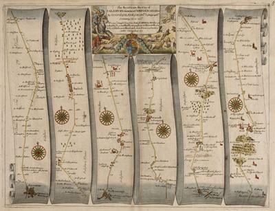 Lot 75 - Ogilby (John). The Road from the City of Salisbury Com Wilts. to Campden com Gloc, circa 1698