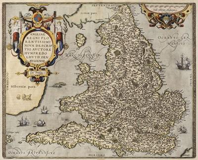 Lot 34-England & Wales. Ortelius (Abraham & Lhuyd Humphrey), Angliae Regni Florentissimi..., circa 1601