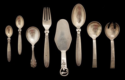 Lot 217 - Georg Jensen. A silver Cactus spoon and fork