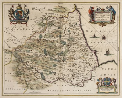 Lot 31-Durham. Jansson (Jan), Episcopatus Dunelmensis vulgo The Bishoprike of Durham, Amsterdam, circa 1650