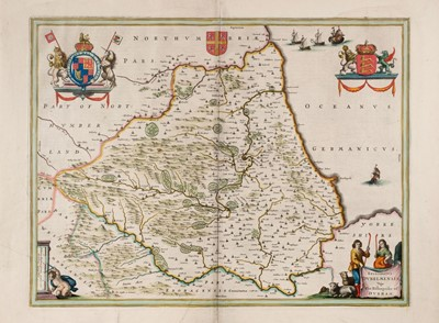 Lot 31 - Durham. Jansson (Jan), Episcopatus Dunelmensis vulgo The Bishoprike of Durham, Amsterdam, circa 1650
