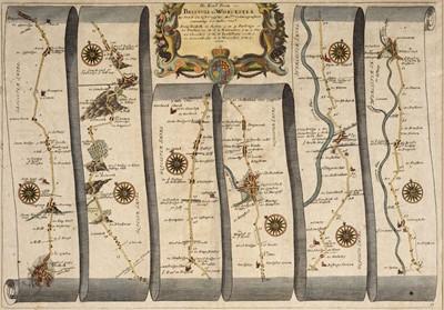 Lot 77 - Ogilby (John). Three strip road maps, circa 1680