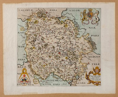 Lot 47-Herefordshire. Blaeu (Johannes), Herefordia Comitatus Hereford-Shire, circa 1650