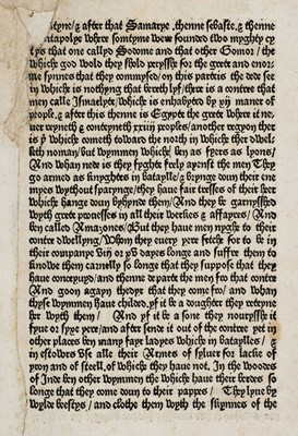 Lot 503 - Caxton (William). Single printed leaf from The Mirrour of the World, 2nd edition, 1490
