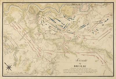 Lot 92 - Battle of Breslau. Five engraved battle plans, circa 1757