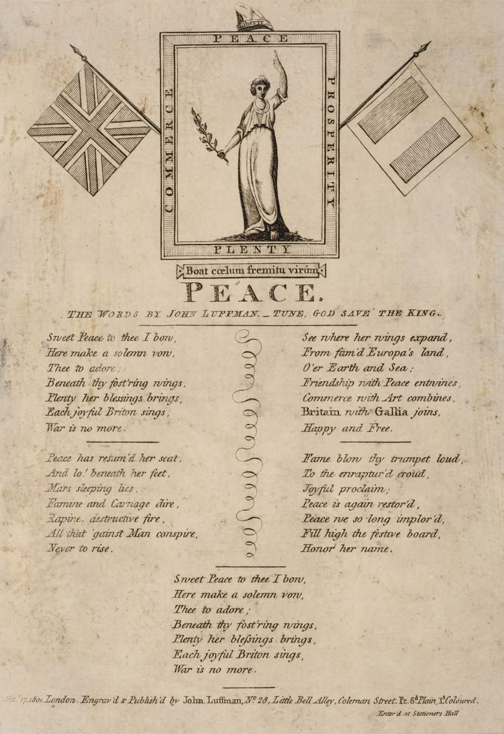 Lot 35 - Napoleonic Broadsides. Peace, the words by John Luffman, October 17, 1801, & others
