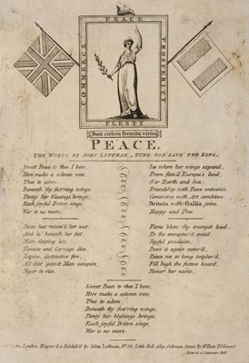 Lot 35-Napoleonic Broadsides. Peace, the words by John Luffman, October 17, 1801, & others