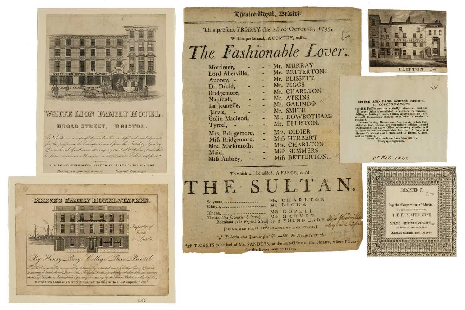 Lot 15 - Bristol. A collection of ephemera relating to places and functions, 18th-19th century