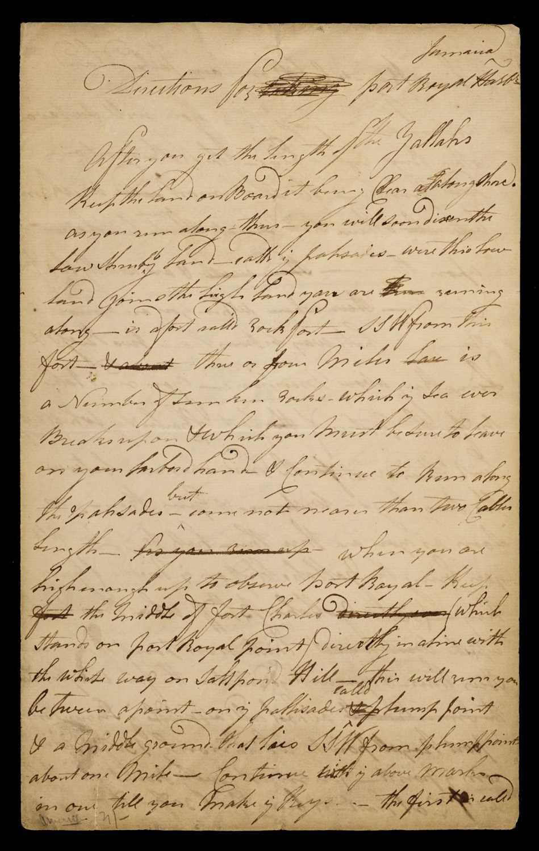 Lot 12 - West Indies. Manuscript navigational instructions for entering Port Royal, circa 1780