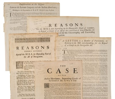 Lot 38 - Levant Company. Five broadsides on the amendment of the 1660 Navigation Act, [1720]