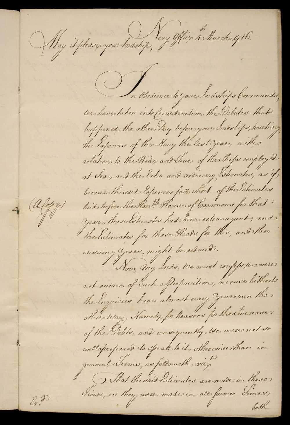 Lot 40 - Royal Navy. Manuscript copy letter from the Navy Board to the Lords of the Admiralty, 1716