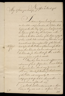 Lot 40-Royal Navy. Manuscript copy letter from the Navy Board to the Lords of the Admiralty, 1716