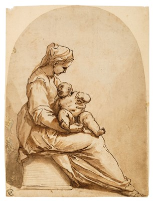 Lot 350-Attributed to Pier Francesco Mola (1612-1666). Woman and child  seated on a stone