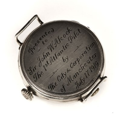 Lot 5 - Alcock & Brown. A wristwatch presented to Captain Alcock 17 July 1919