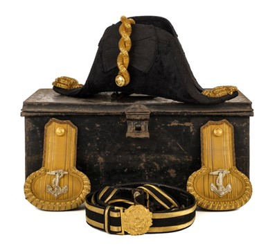 Lot 37 - Larken (Nigel, 1917/18-1941). World War Two Royal Navy officer's bicorn hat, epaulettes and belt