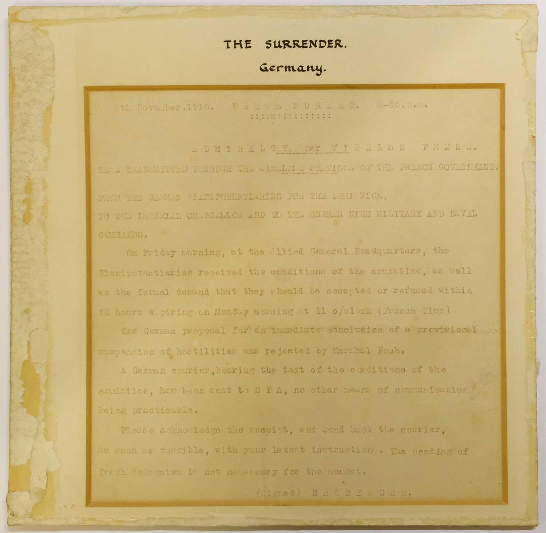 Lot 45 - WWI Surrender. Three original telegraphs relating to the German surrender, 1918