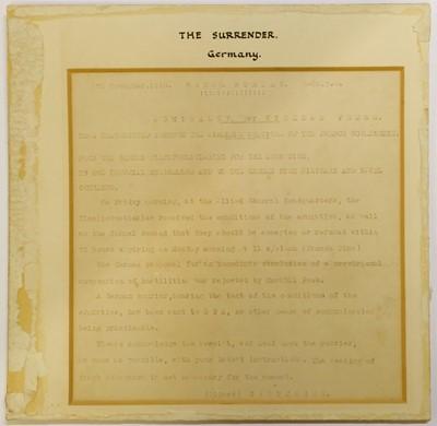 Lot 45-WWI Surrender. Three original telegraphs relating to the German surrender, 1918