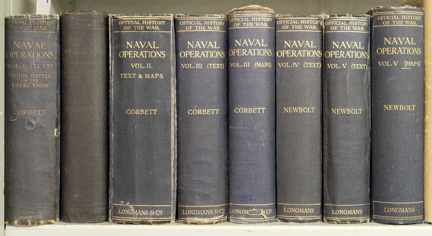 Lot 28 - Corbett (Sir Julian S.). Naval Operations, History of the Great War, 1920-31, & others