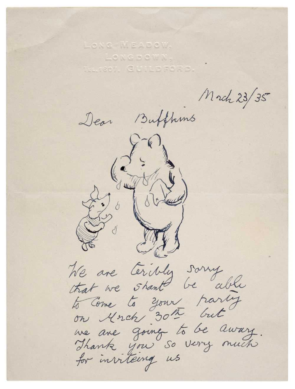 Lot 437-Shepard (Ernest Howard). A Winnie-the-Pooh illustrated letter, 23 March 1935