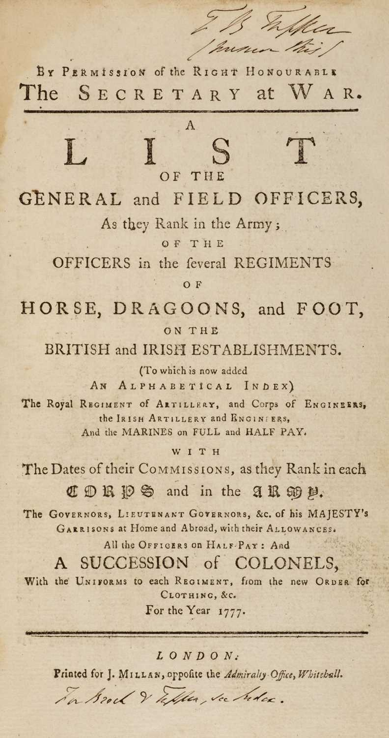 Lot 21 - Army Lists. A List of the General and Field Officers for the Year 1777, & 7 others