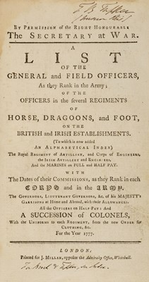 Lot 21-Army Lists. A List of the General and Field Officers for the Year 1777, & 7 others