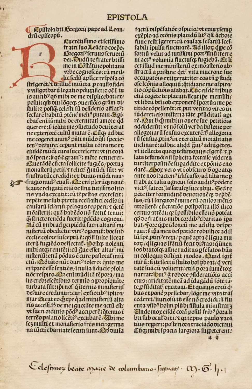 230 - Gregory the Great (Saint, 540-604). Moralia, sive expositio in Job, Paris, 1495