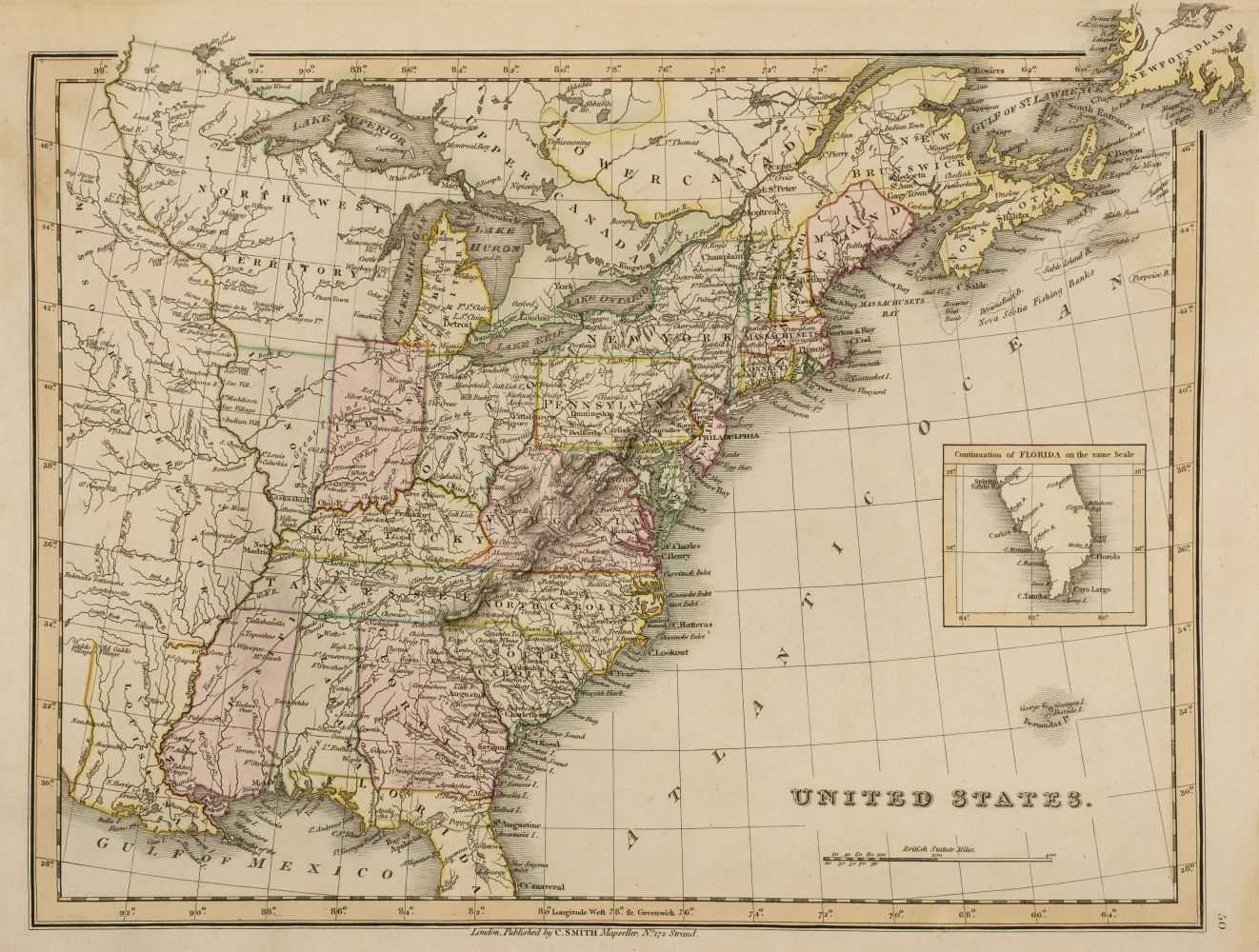 Lot 10 - Smith (Charles). Smith's New General Atlas containing Distinct Maps, 1830