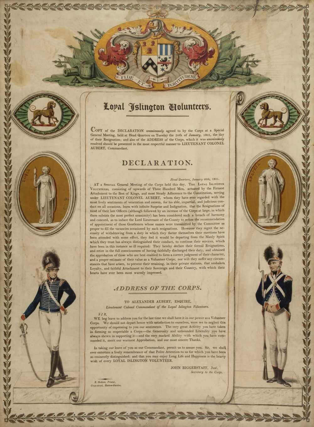 Lot 32 - Loyal Islington Volunteers. Declaration, 1801, letterpress broadside